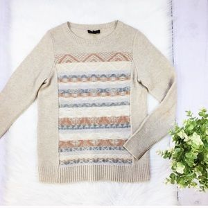 J. Crew Neutral Tan Stripe Beautiful Sweater